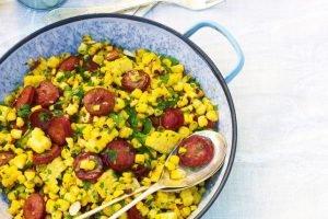 BBQ bijgerechten mais chorizo salade