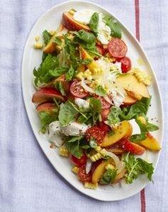 BBQ bijgerechten caprese salade perzik